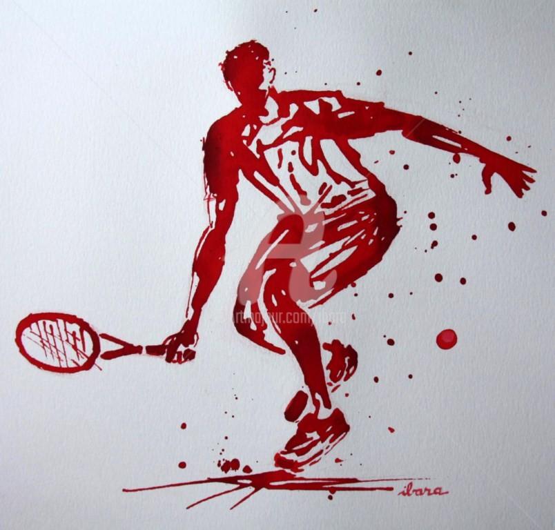 Henri Ibara - tennis-n-12-dessin-d-ibara-a-l-encre-rouge-et-sanguine-sur-papier-aquarelle-300gr-format-30cm-sur-42cm.jpg