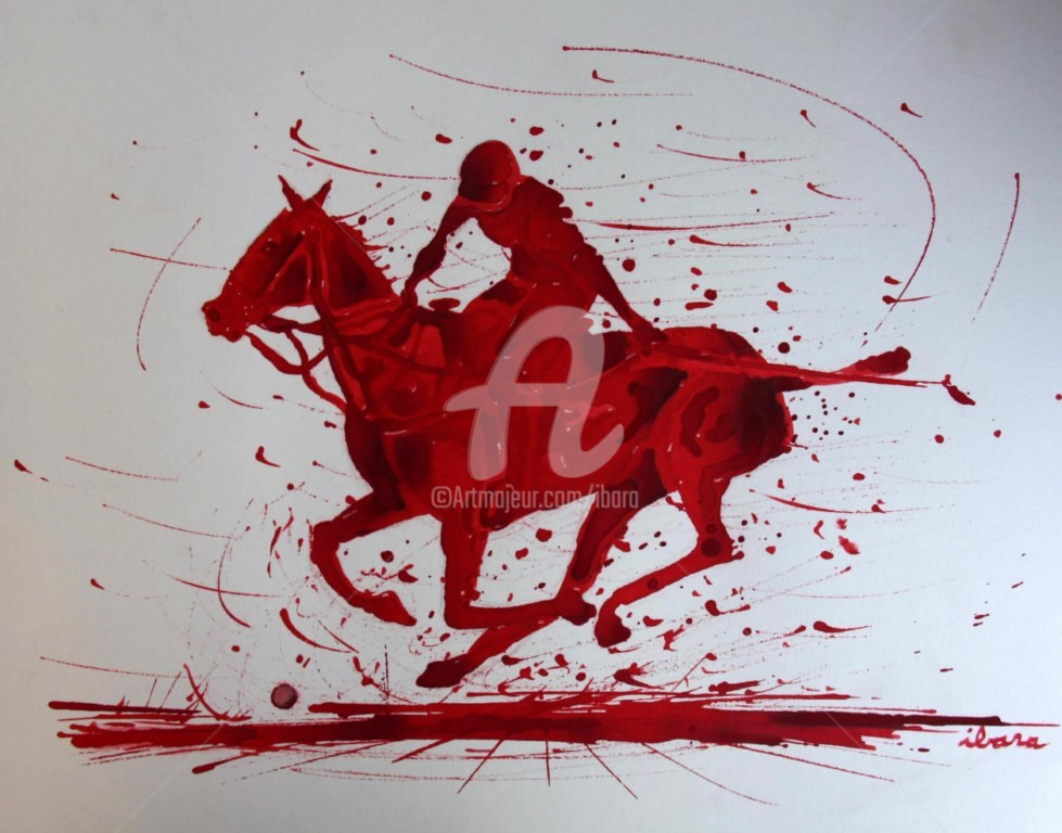 Henri Ibara - joueur-de-polo-a-cheval-dessin-d-ibara-a-l-encre-rouge-sur-papier-aquarelle-300gr-format-30cm-sur-42cm-2.jpg