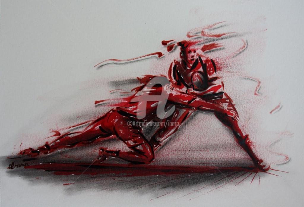 Henri Ibara - rugby-n-40-dessin-d-ibara-encre-rouge-et-sanguine-sur-papier-aquarelle-format-30cm-sur-42cm.jpg