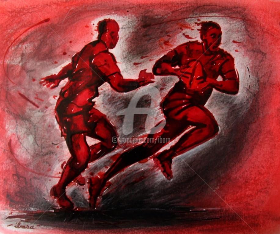 Henri Ibara - rugby-n-41-dessin-d-ibara-encre-rouge-et-sanguine-sur-papier-aquarelle-format-30cm-sur-42cm.jpg