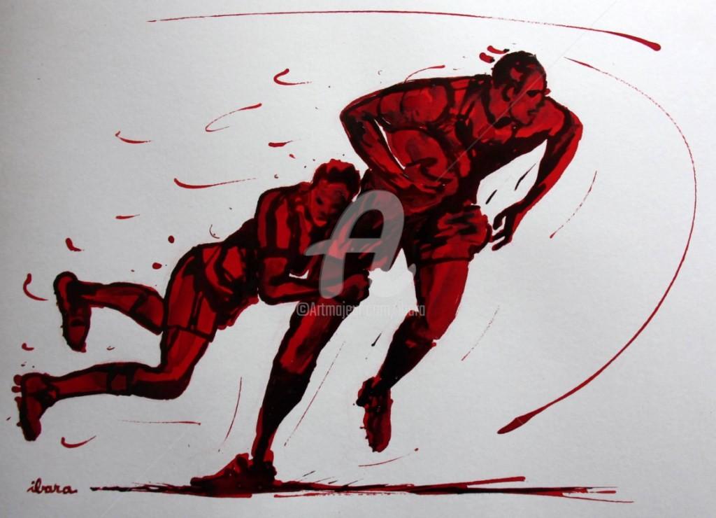 Henri Ibara - rugby-n-42-dessin-d-ibara-encre-rouge-et-sanguine-sur-papier-aquarelle-format-30cm-sur-42cm.jpg
