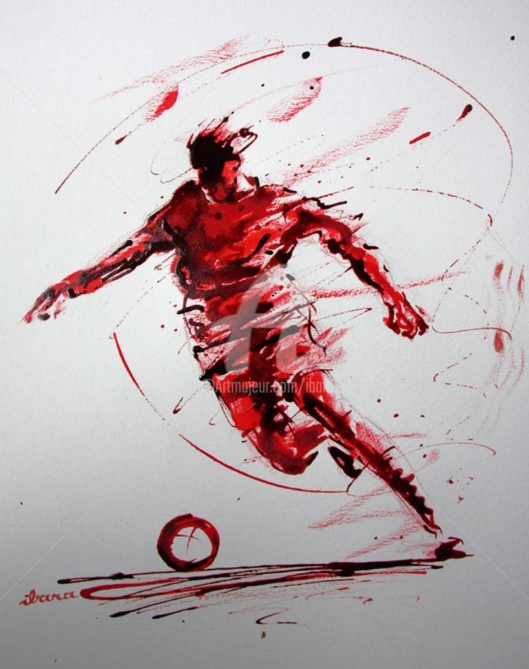 Henri Ibara - football-n-72-dessin-d-ibara-a-l-encre-rouge-et-sanguine-sur-papier-aquarelle-300gr-format-30cm-sur-42cm.jpg