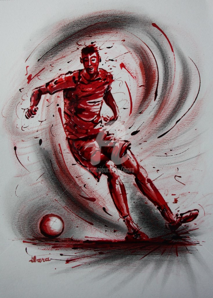 Henri Ibara - football-n-73-dessin-d-ibara-a-l-encre-rouge-et-sanguine-sur-papier-aquarelle-300gr-format-30cm-sur-42cm.jpg