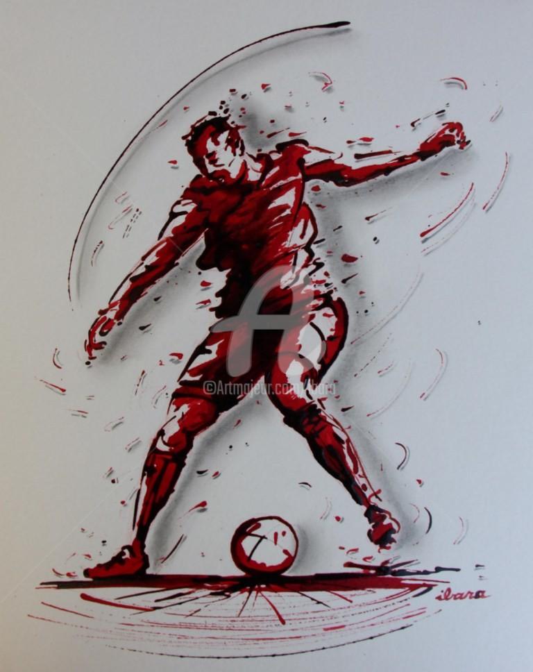 Henri Ibara - football-n-74-dessin-d-ibara-a-l-encre-rouge-et-sanguine-sur-papier-aquarelle-300gr-format-30cm-sur-42cm.jpg