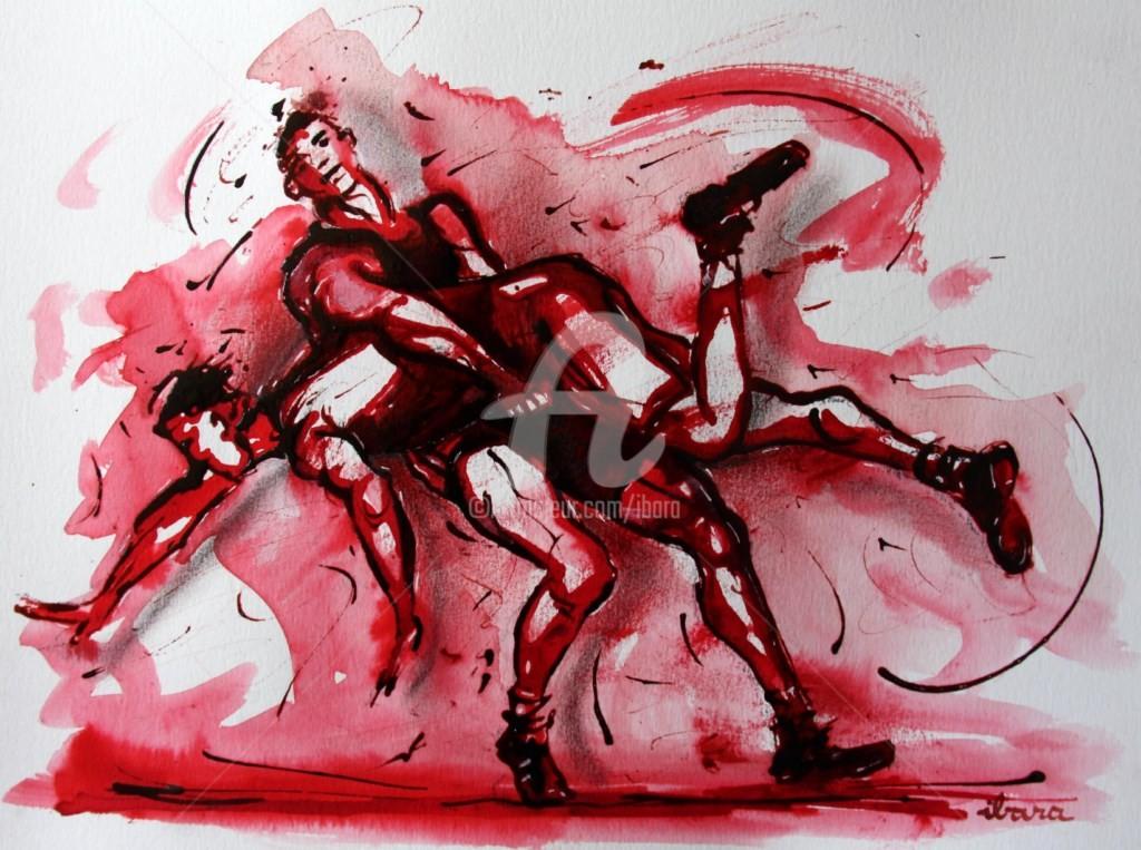 Henri Ibara - lutte-n-2-dessin-encre-et-sanguine-d-ibara-sur-papier-aquarelle-300gr-format-30cm-sur-42cm.jpg