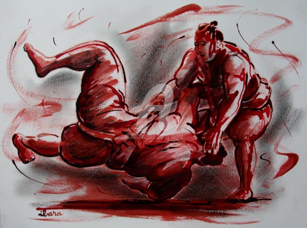 Henri Ibara - lutteurs-de-sumo-dessin-encre-sanguine-et-crayon-noir-d-ibara-sur-papier-aquarelle-300gr-format-30cm-sur-42cm.jpg
