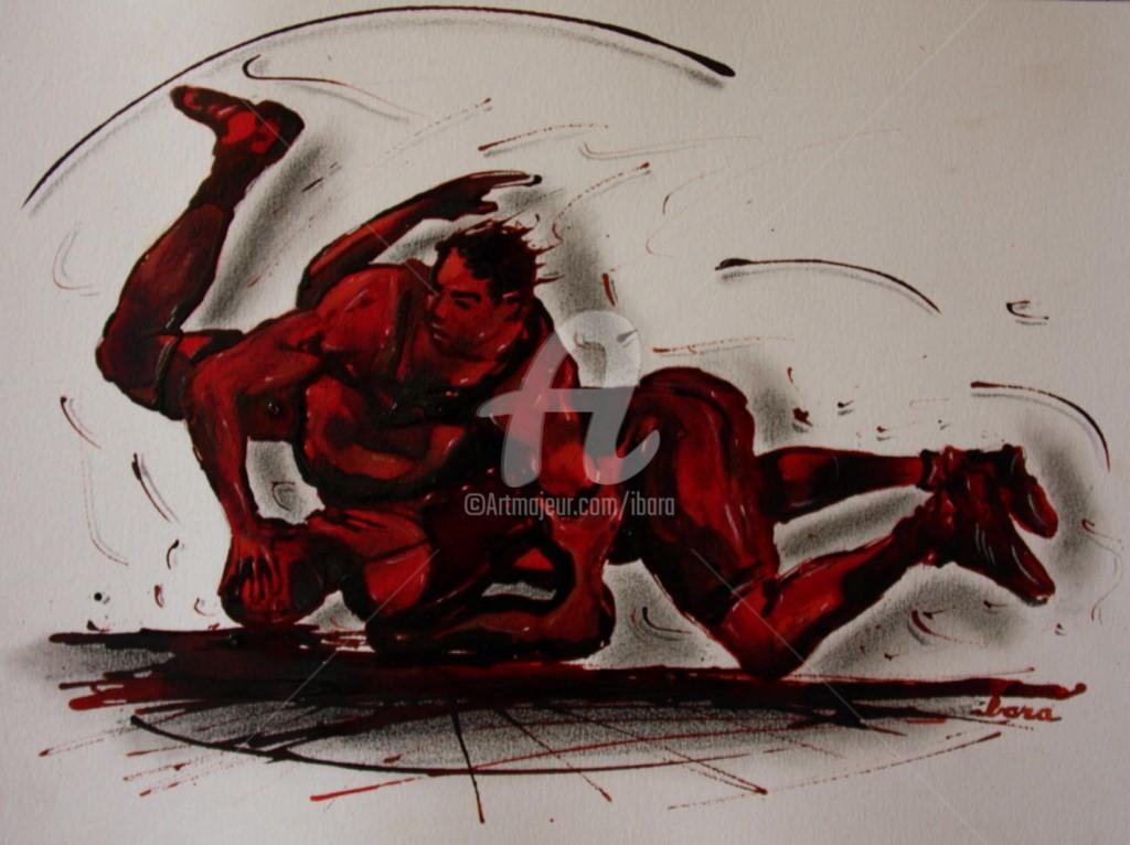 Henri Ibara - lutte-n-3-dessin-encre-sanguine-et-crayon-noir-d-ibara-sur-papier-aquarelle-300gr-format-30cm-sur-42cm.jpg