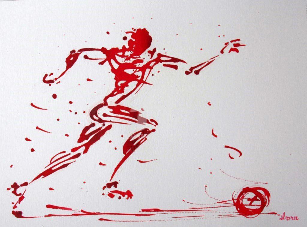 Henri Ibara - football-n-76-dessin-d-ibara-a-l-encre-rouge-sur-papier-aquarelle-300gr-format-30cm-sur-42cm.jpg