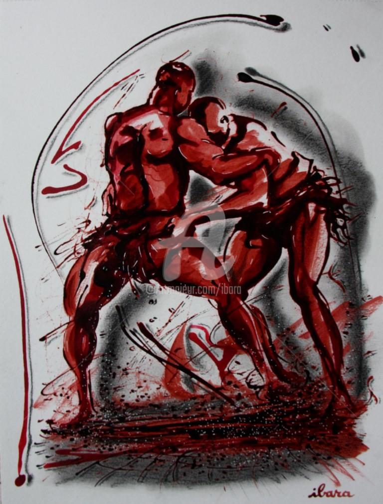 Henri Ibara - lutteurs-senegalais-n-2-dessin-encre-sanguine-et-crayon-noir-d-ibara-sur-papier-aquarelle-300gr-format-30cm-sur-42cm.jpg