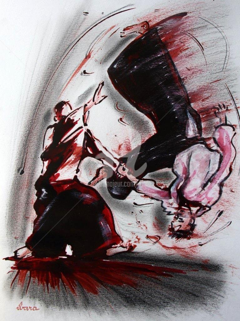 Henri Ibara - aikido-dessin-encre-sanguine-et-crayon-noir-d-ibara-sur-papier-aquarelle-300gr-format-30cm-sur-42cm.jpg