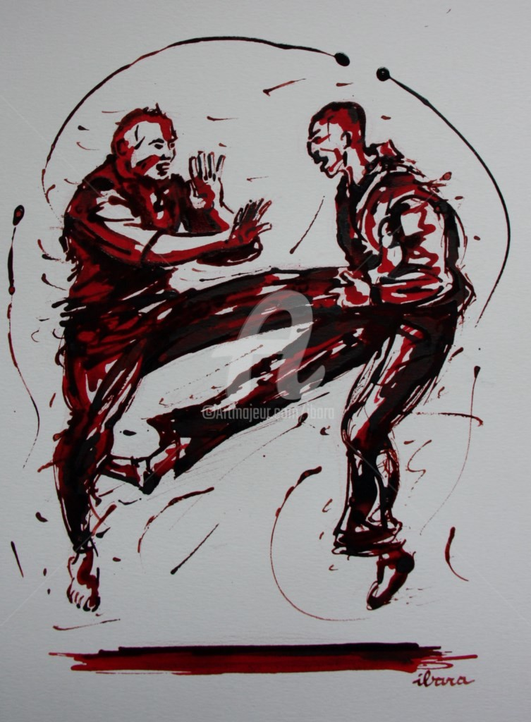 Henri Ibara - penchak-silat-dessin-encre-sanguine-d-ibara-sur-papier-aquarelle-300gr-format-30cm-sur-42cm.jpg