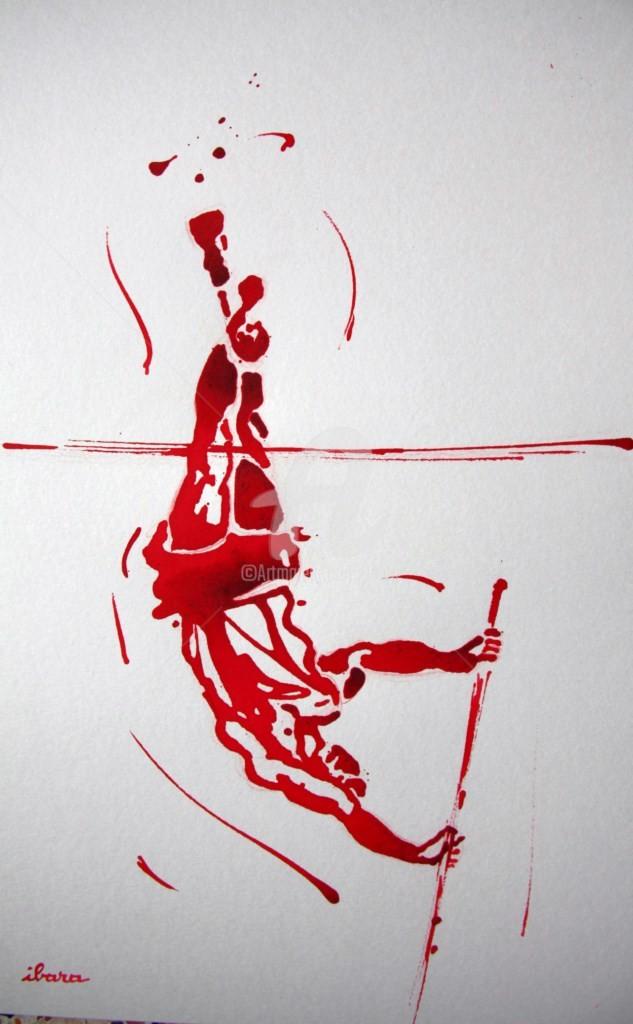 Henri Ibara - saut-a-la-perche-homme-dessin-d-ibara-a-l-encre-rouge-sur-papier-aquarelle-300gr-format-30cm-sur-42cm.jpg