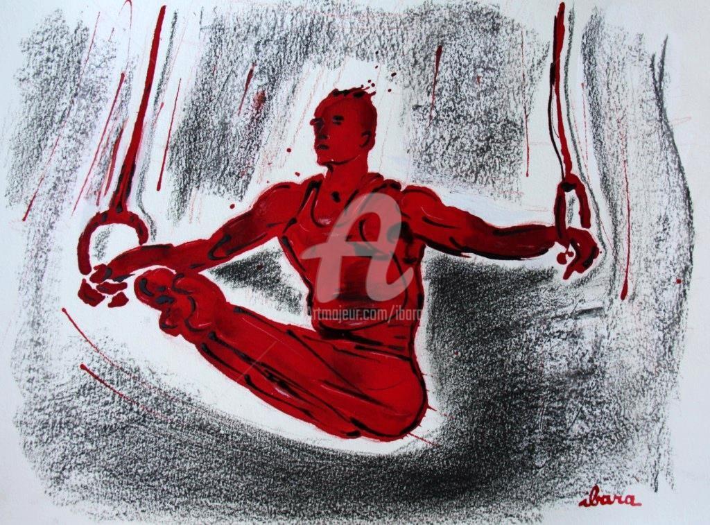 Henri Ibara - gymnastique-les-anneaux-dessin-d-ibara-a-l-encre-rouge-sanguine-et-crayon-sur-papier-aquarelle-300gr-format-30cm-sur-42cm.jpg