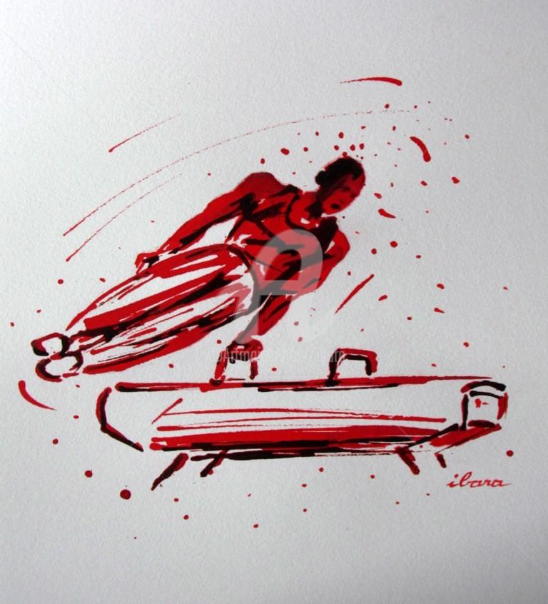 Henri Ibara - gymnastique-cheval-d-arcon-dessin-d-ibara-a-l-encre-rouge-et-sanguine-sur-papier-aquarelle-300gr-format-30cm-sur-42cm.jpg
