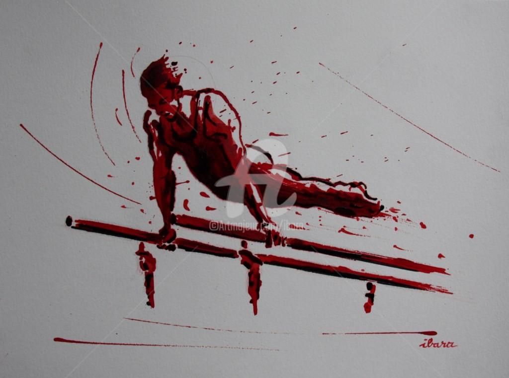 Henri Ibara - gymnastique-barres-paralleles-dessin-d-ibara-a-l-encre-rouge-et-sanguine-sur-papier-aquarelle-300gr-format-30cm-sur-42cm.jpg