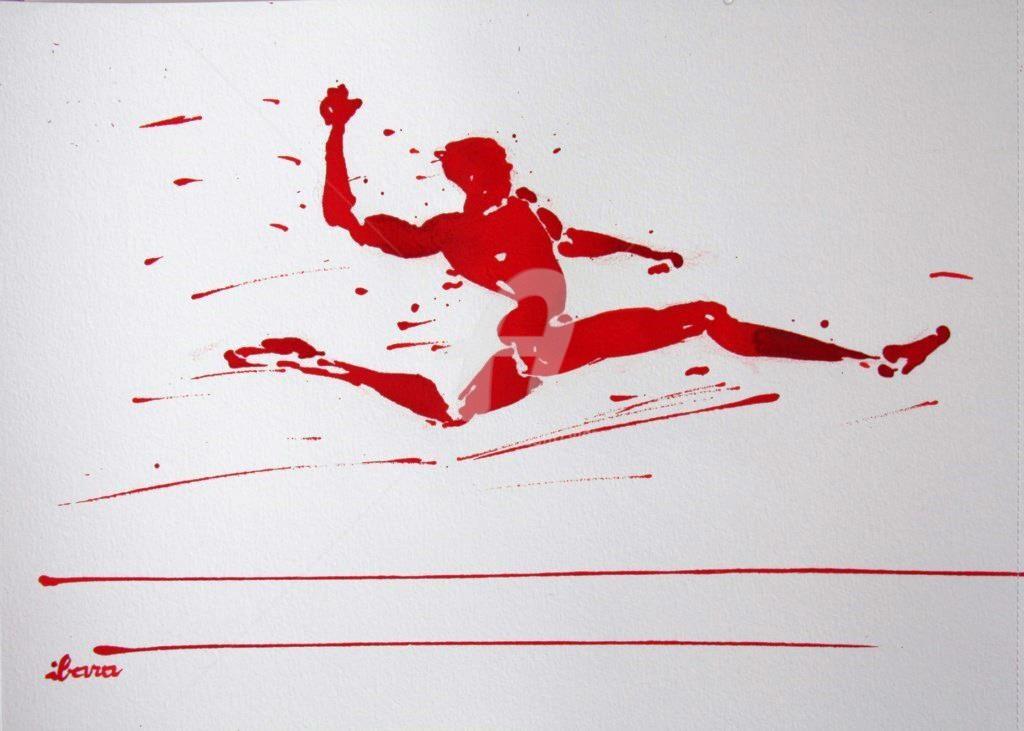 Henri Ibara - saut-en-longueur-n-3-dessin-d-ibara-encre-rouge-sur-papier-aquarelle-300gr-format-30cm-sur-42cm.jpg