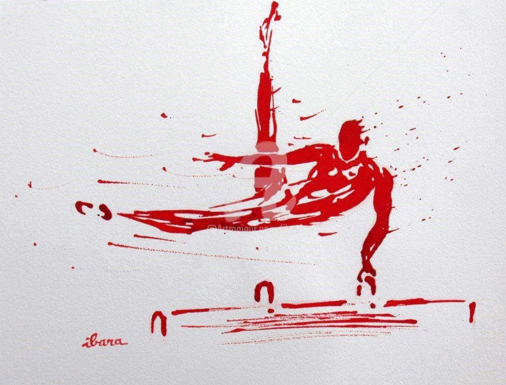 Henri Ibara - gymnastique-cheval-d-arcon-dessin-d-ibara-a-l-encre-rouge-sur-papier-aquarelle-300gr-format-30cm-sur-42cm.jpg