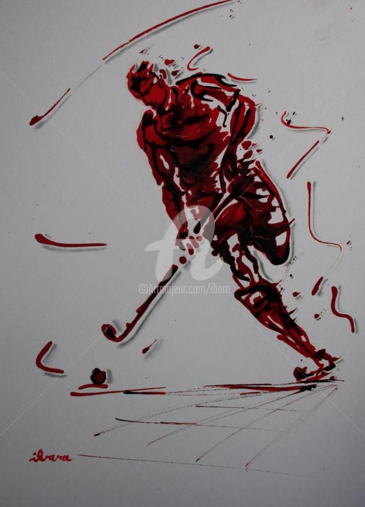 Henri Ibara - hockey-sur-gazon-encre-rouge-et-sanguine-par-ibara-sur-papier-aquarelle-300gr-format-30cm-sur-42cm.jpg