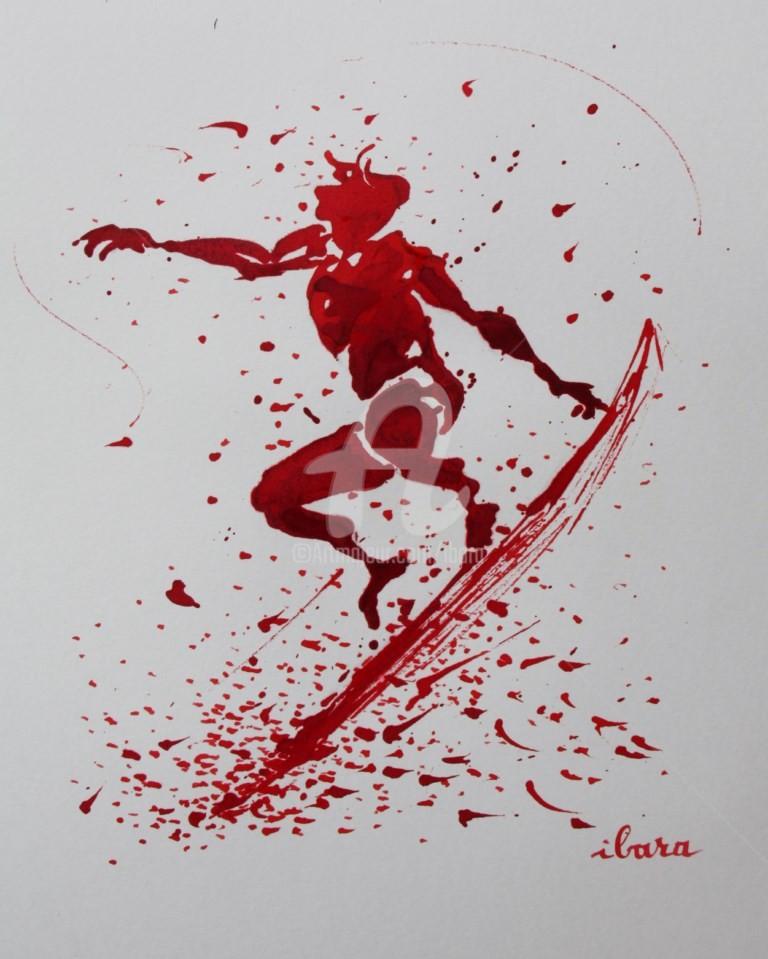 Henri Ibara - surf-n-3-dessin-d-ibara-a-l-encre-rouge-sur-papier-aquarelle-300gr-format-30cm-sur-42cm.jpg
