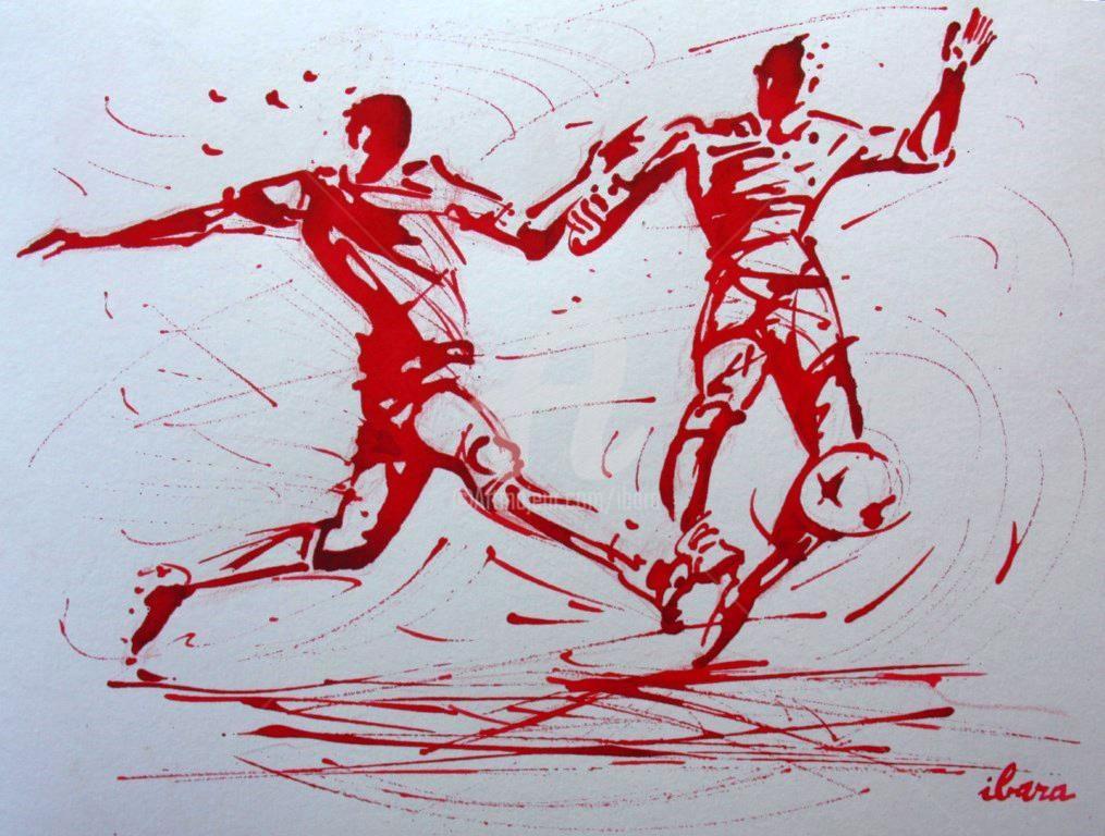 Henri Ibara - football-n-77-dessin-d-ibara-a-l-encre-rouge-sur-papier-aquarelle-300gr-format-30cm-sur-42cm.jpg