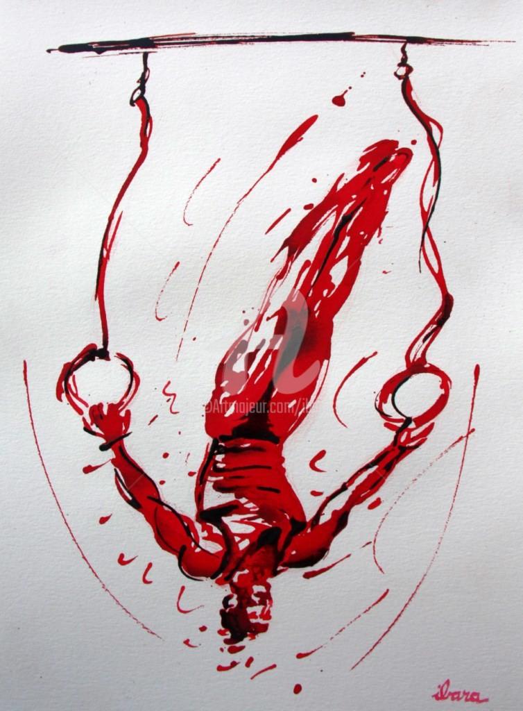 Henri Ibara - gymnastique-les-anneaux-n-2-dessin-d-ibara-a-l-encre-rouge-sanguine-et-crayon-sur-papier-aquarelle-300gr-format-30cm-sur-42cm.jpg