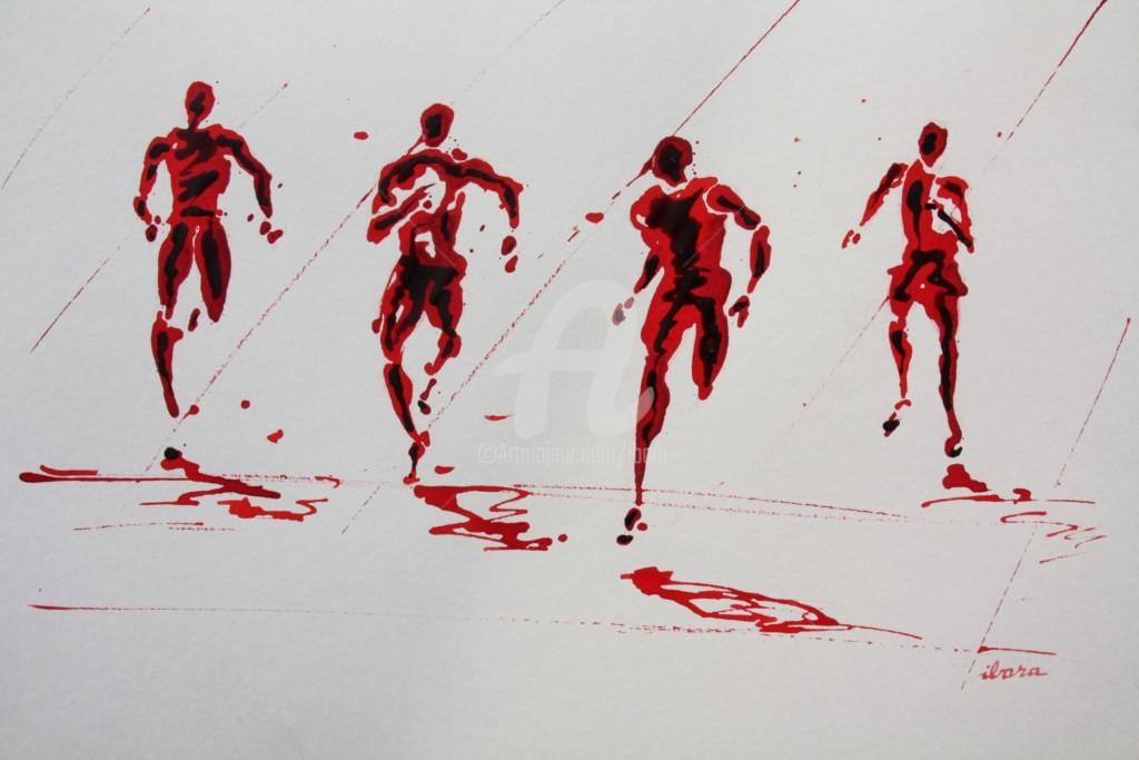 Henri Ibara - arrivee-100m-dessin-d-ibara-a-l-encre-rouge-sur-papier-aquarelle-300gr-format-30cm-sur-42cm.jpg
