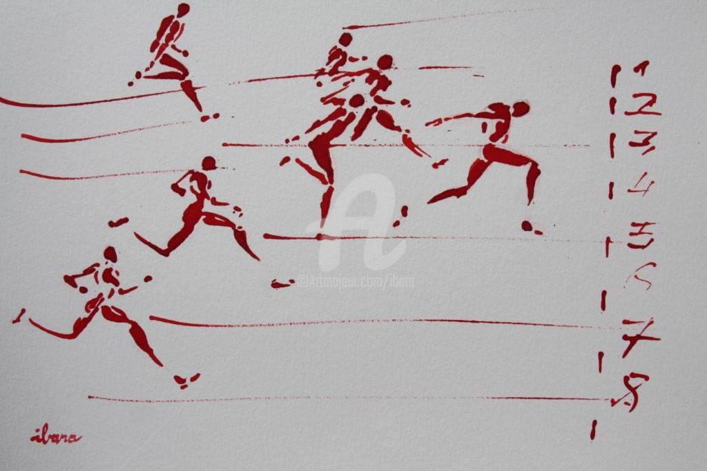 Henri Ibara - arrivee-100m-n-2-dessin-d-ibara-a-l-encre-rouge-sur-papier-aquarelle-300gr-format-30cm-sur-42cm.jpg