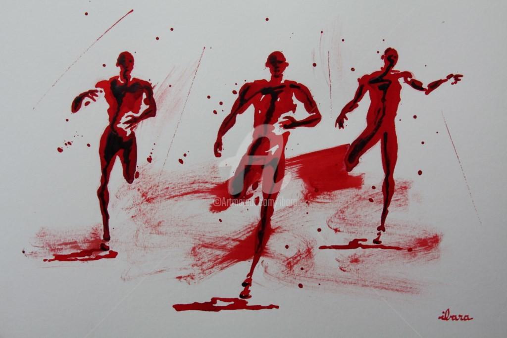 Henri Ibara - arrivee-100m-n-3-dessin-d-ibara-a-l-encre-rouge-sur-papier-aquarelle-300gr-format-30cm-sur-42cm.jpg