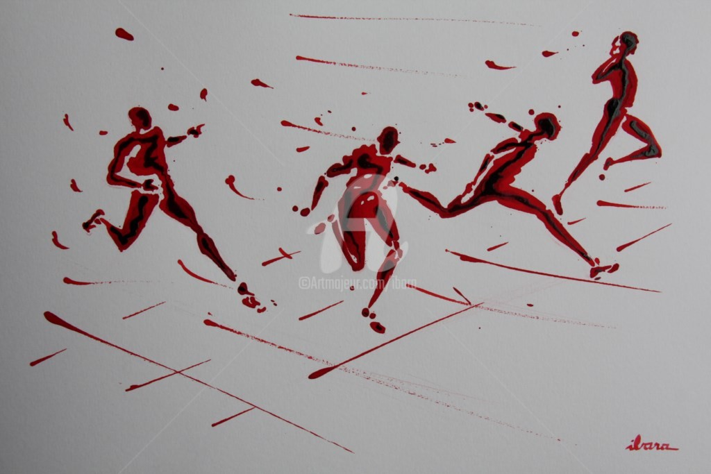 Henri Ibara - arrivee-100m-n-4-dessin-d-ibara-a-l-encre-rouge-sur-papier-aquarelle-300gr-format-30cm-sur-42cm.jpg