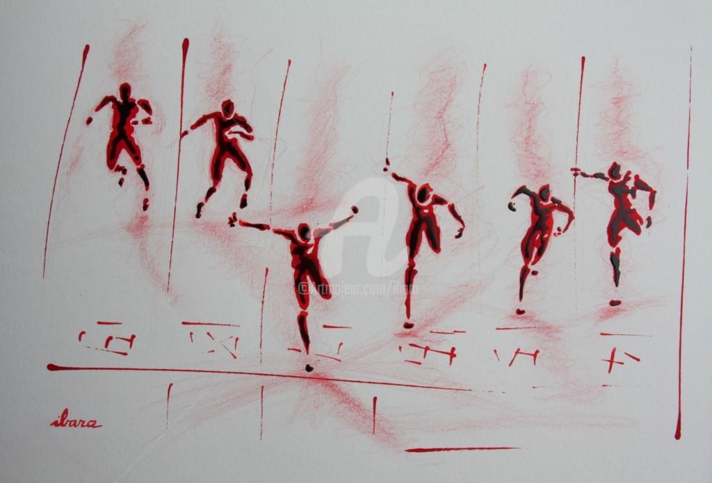 Henri Ibara - arrivee-100m-n-6-dessin-d-ibara-a-l-encre-rouge-sur-papier-aquarelle-300gr-format-30cm-sur-42cm.jpg