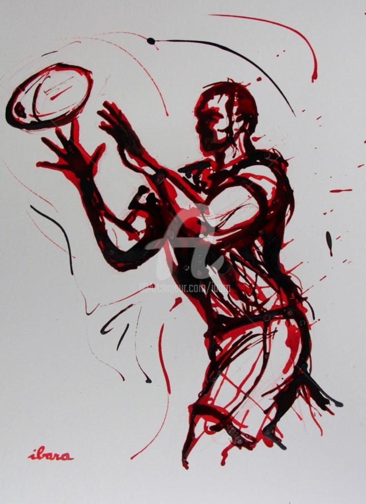 Henri Ibara - rugby-n-44-dessin-d-ibara-encre-rouge-et-sanguine-sur-papier-aquarelle-format-30cm-sur-42cm.jpg