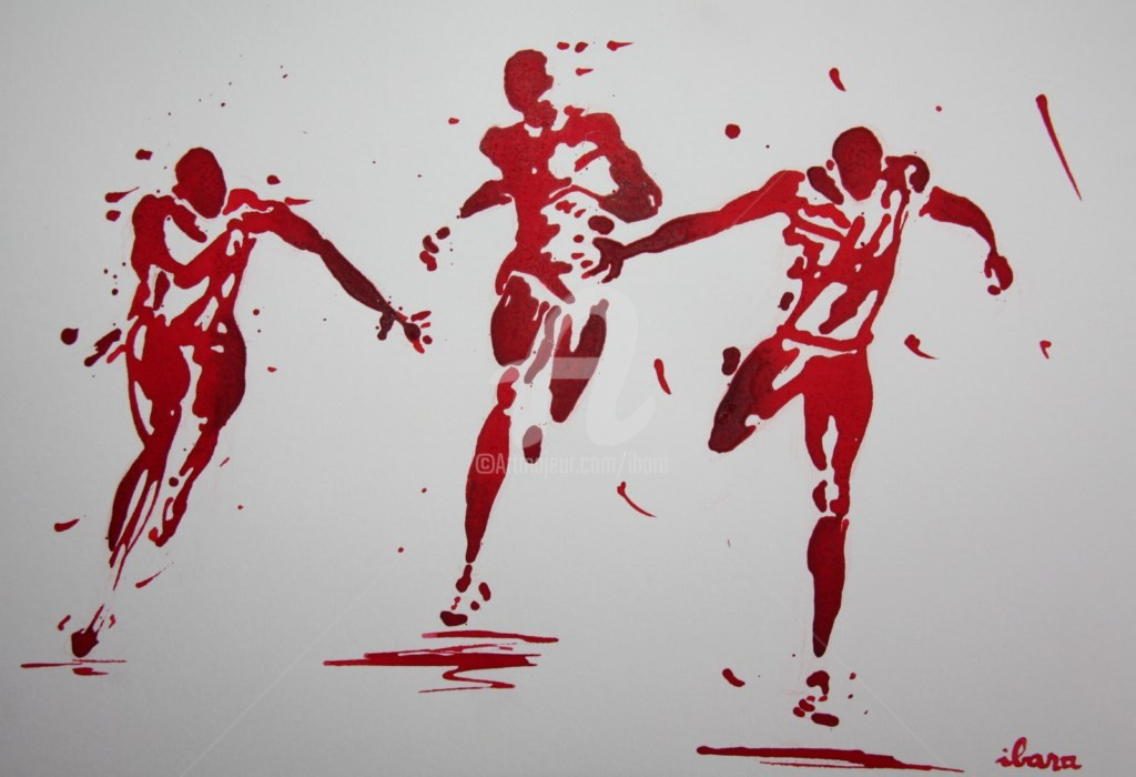 Henri Ibara - arrivee-100m-n-7-dessin-d-ibara-a-l-encre-rouge-sur-papier-aquarelle-300gr-format-30cm-sur-42cm.jpg