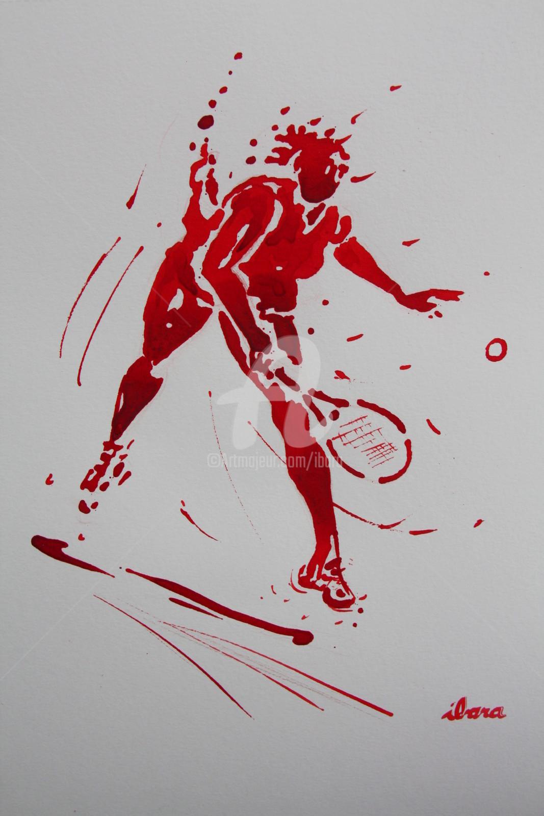 Henri Ibara - tennis-dame-n-13-dessin-d-ibara-a-l-encre-rouge-et-sanguine-sur-papier-aquarelle-300gr-format-30cm-sur-42cm.jpg