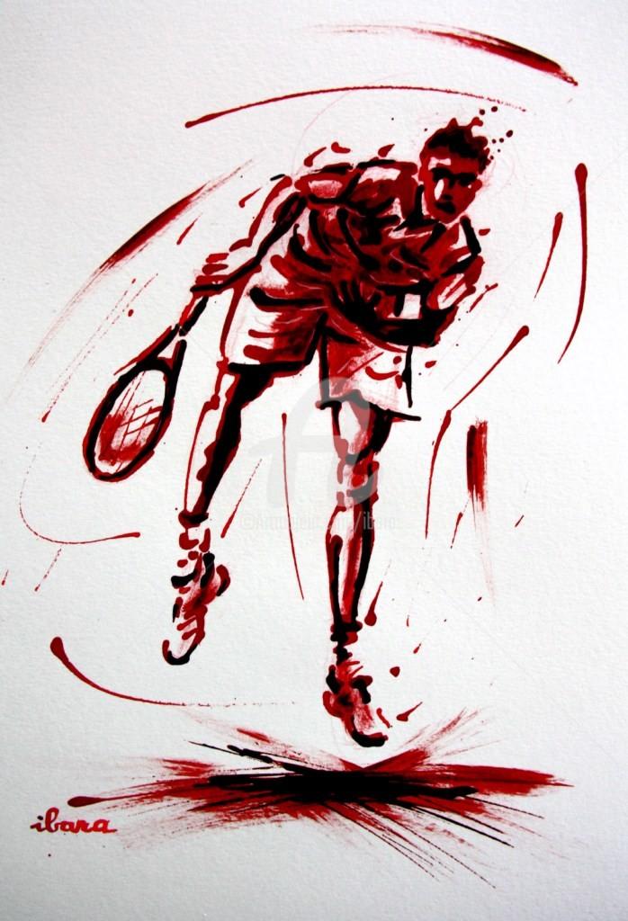 Henri Ibara - tennis-n-14-dessin-d-ibara-a-l-encre-rouge-et-sanguine-sur-papier-aquarelle-300gr-format-30cm-sur-42