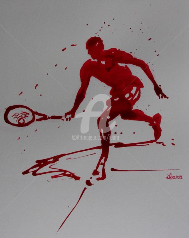 Henri Ibara - tennis-n-14-dessin-d-ibara-a-l-encre-rouge-sur-papier-aquarelle-300gr-format-30cm-sur-42cm.jpg