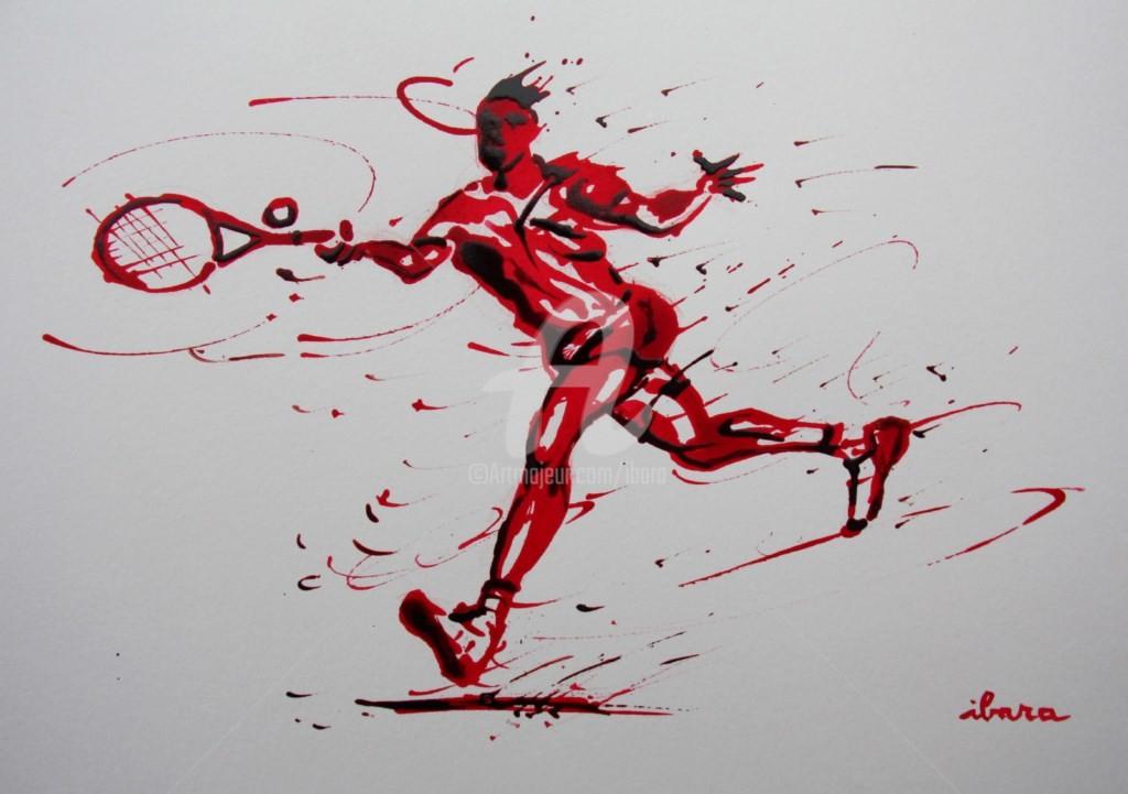 Henri Ibara - tennis-n-15-dessin-d-ibara-a-l-encre-rouge-et-sanguine-sur-papier-aquarelle-300gr-format-30cm-sur-42cm.jpg