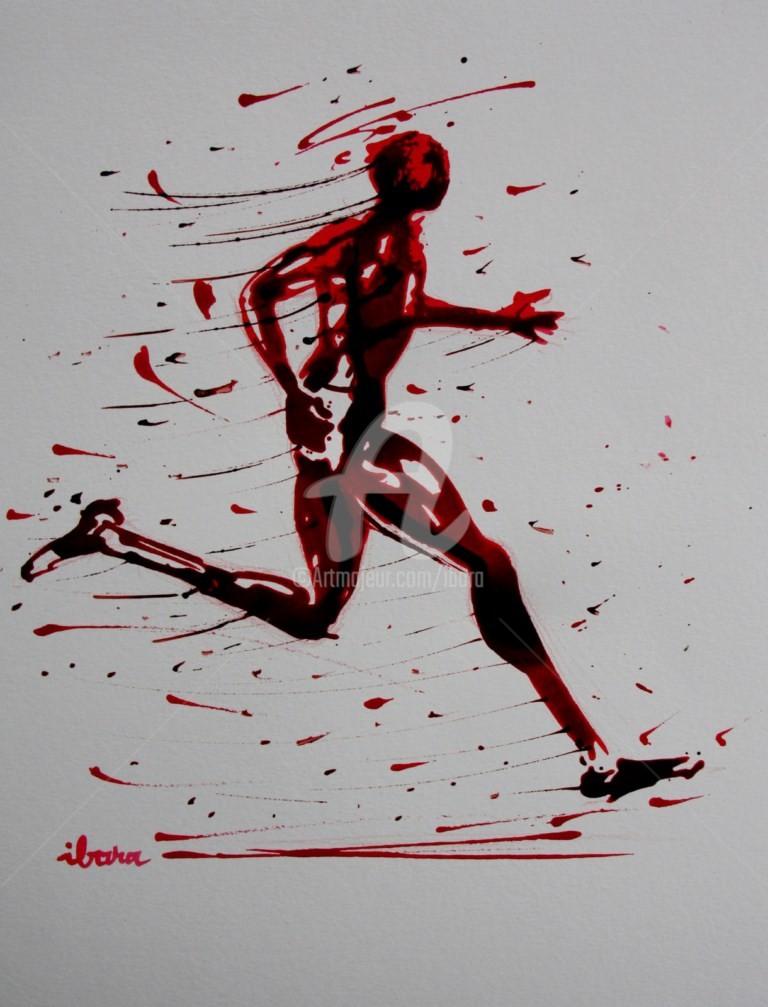 Henri Ibara - course-a-pieds-dessin-encre-rouge-et-sanguine-sur-papier-aquarelle-300gr-format-30cm-sur-42cm-par-ibara.jpg