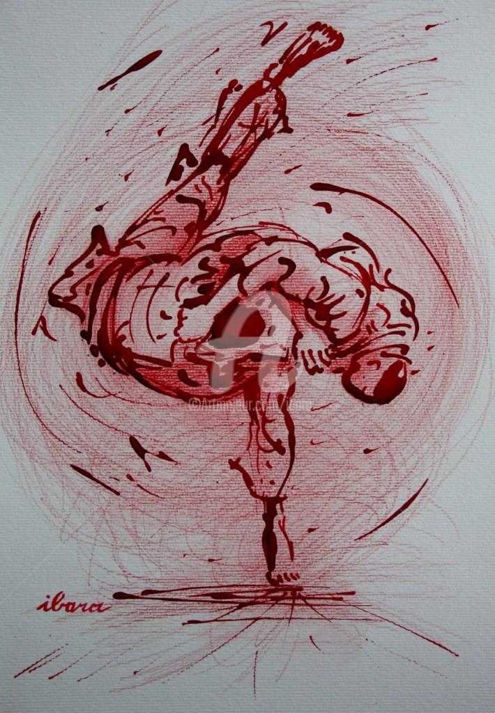 Henri Ibara - judo-n-6-dessin-d-ibara-a-l-encre-rouge-et-crayon-rouge-sur-papier-aquarelle-300gr-format-30cm-sur-42cm.jpg