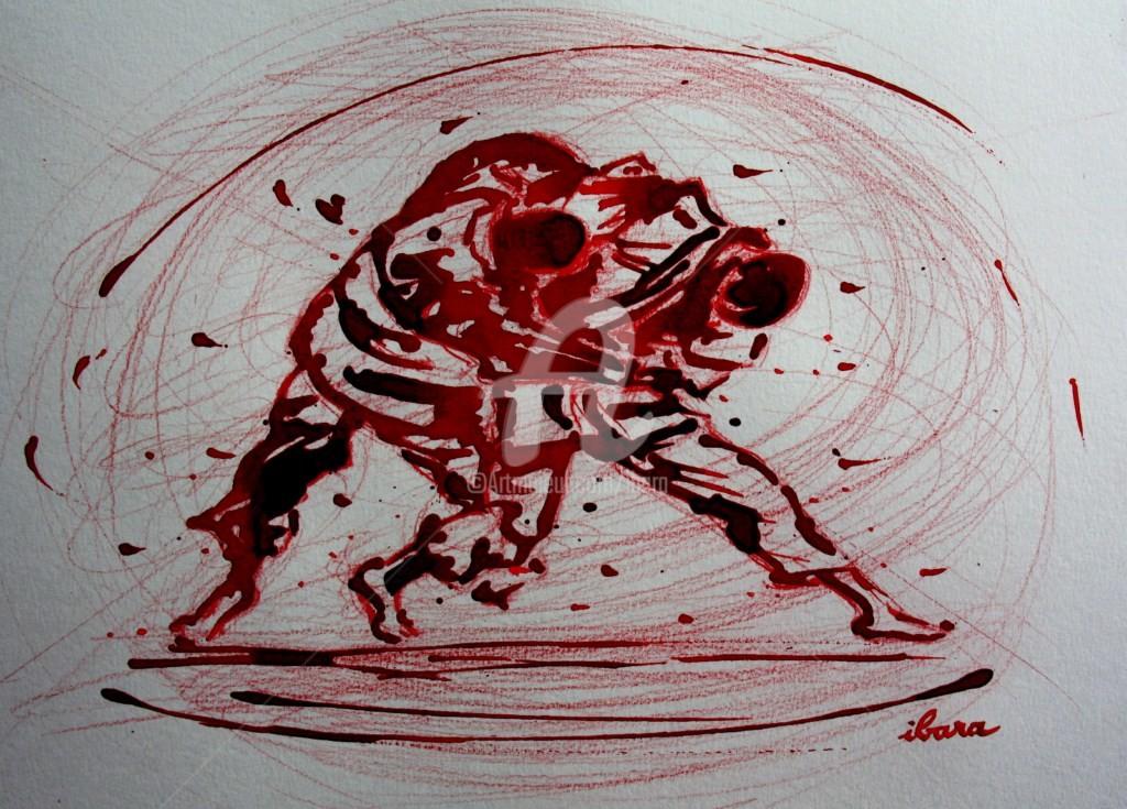 Henri Ibara - judo-n-7-dessin-d-ibara-a-l-encre-rouge-et-crayon-rouge-sur-papier-aquarelle-300gr-format-30cm-sur-42cm.jpg