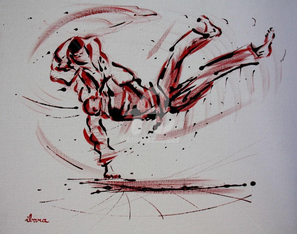 Henri Ibara - judo-n-8-peinture-rouge-et-sanguine-sur-carton-toile-format-50cm-sur-40cm.jpg