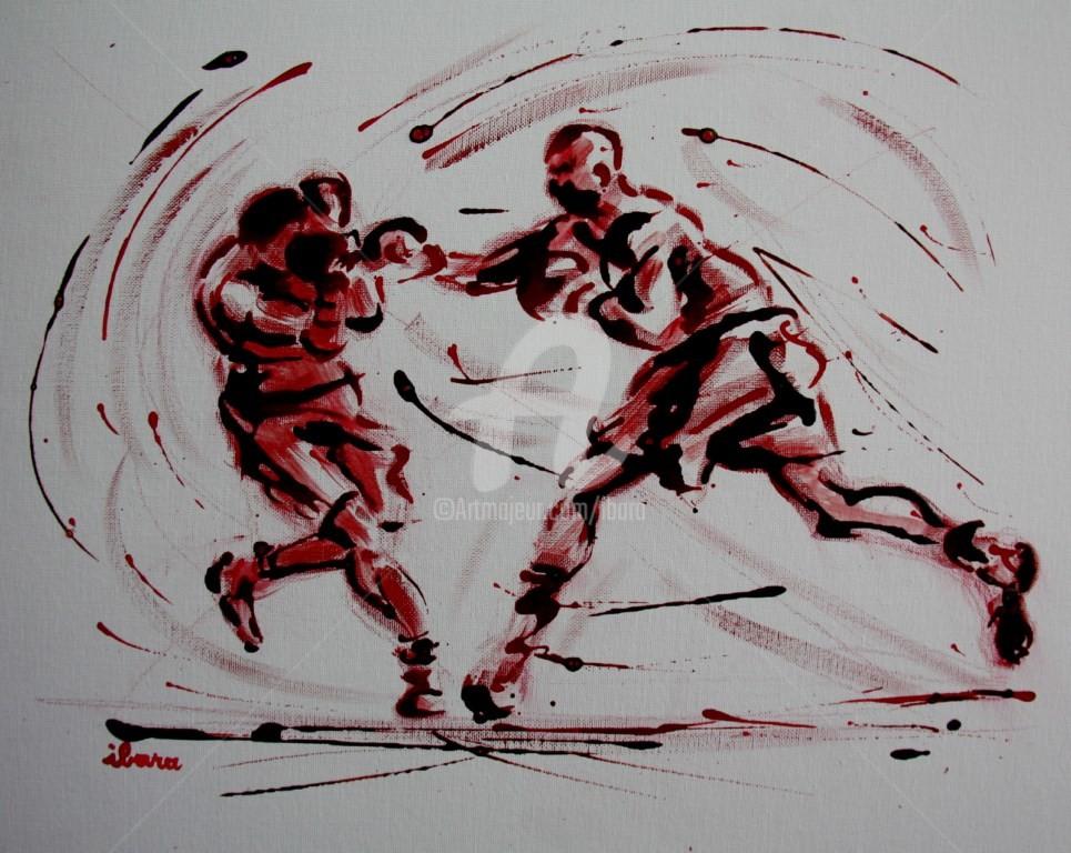 Henri Ibara - boxe-n-7-peinture-acrylique-et-sanguine-sur-carton-toile-format-50cm-sur-40cm-par-ibara.jpg