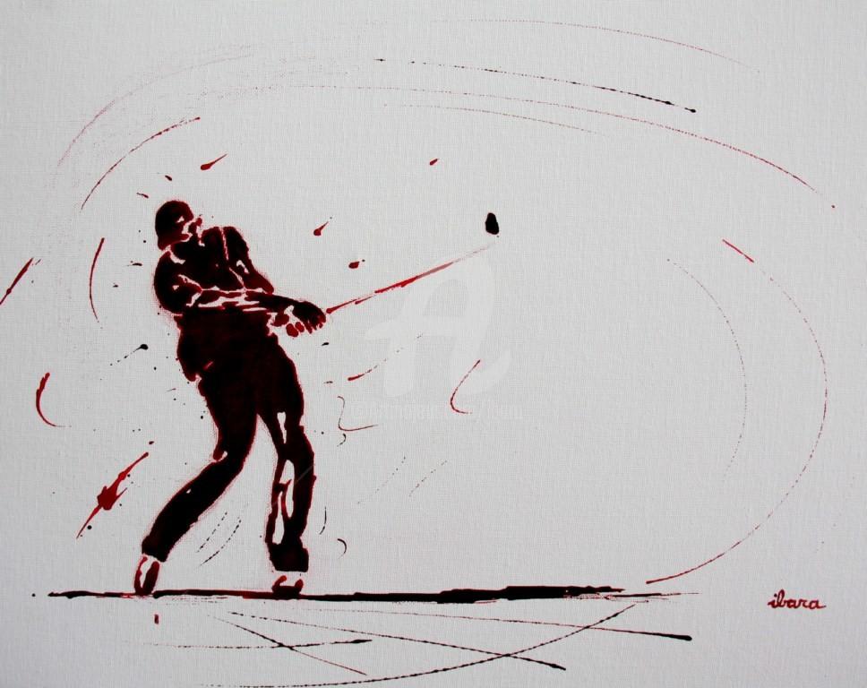 Henri Ibara - golf-n-18-peinture-acrylique-et-sanguine-sur-carton-toile-format-50cm-sur-40cm-par-ibara.jpg