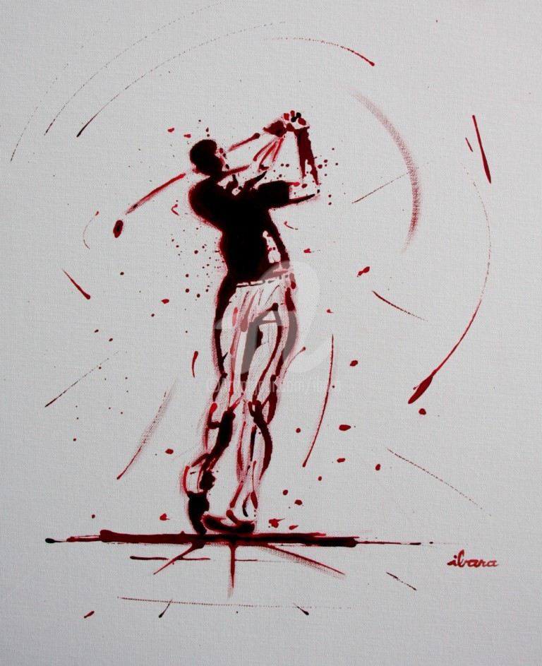 Henri Ibara - golf-n-19-peinture-acrylique-et-sanguine-sur-carton-toile-format-50cm-sur-40cm-par-ibara.jpg