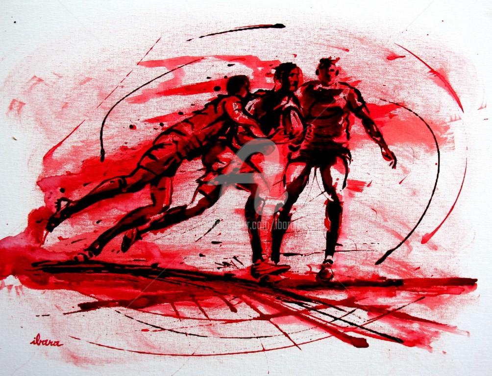 Henri Ibara - rugby-n-46-peinture-acrylique-et-sanguine-sur-carton-toile-format-50cm-sur-40cm-par-ibara.jpg