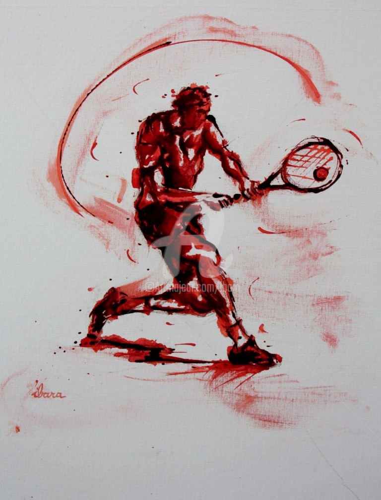 Henri Ibara - tennis-n-18-peinture-acrylique-et-sanguine-sur-carton-toile-format-50cm-sur-40cm-par-ibara.jpg