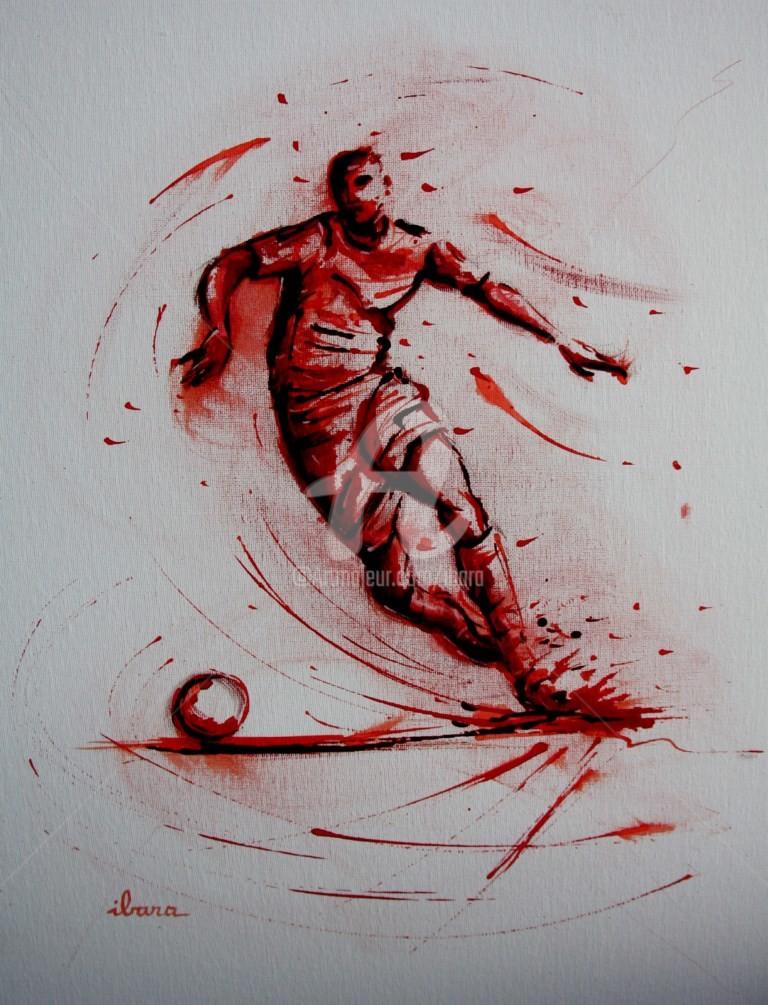Henri Ibara - football-n-79-peinture-acrylique-et-sanguine-sur-carton-toile-format-50cm-sur-40cm-par-ibara.jpg
