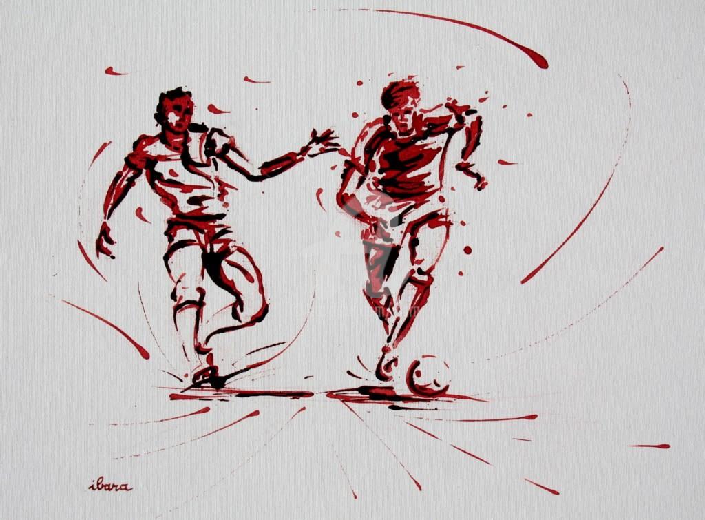 Henri Ibara - football-n-79-peinture-acrylique-et-sanguine-sur-carton-toile-format-50cm-sur-40cm-par-ibara-001.jpg