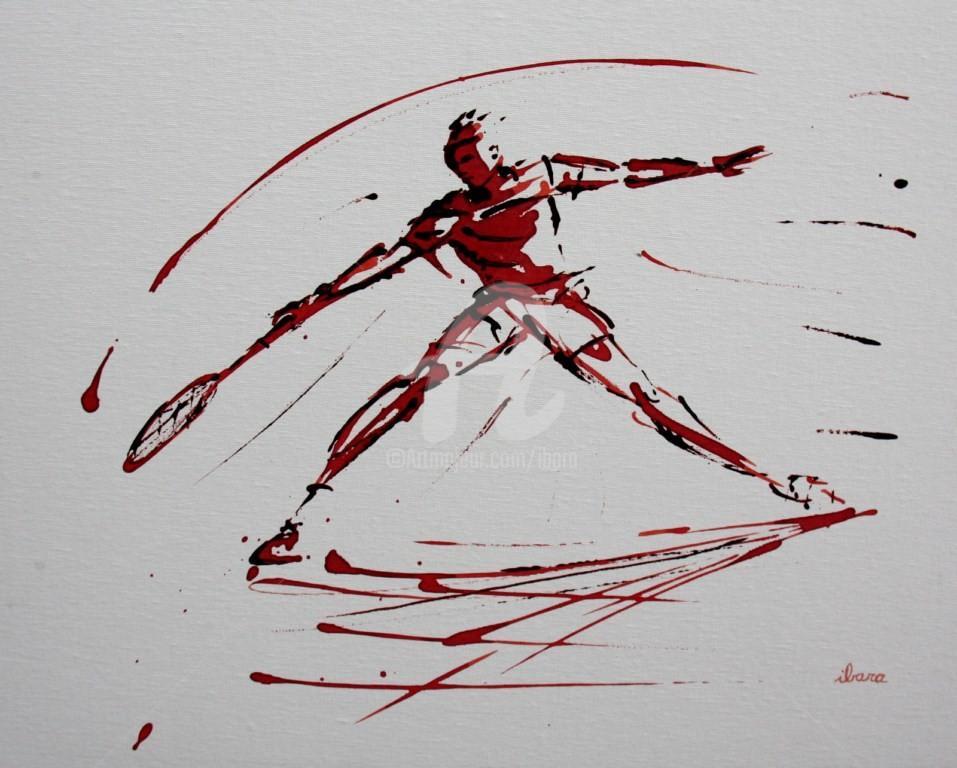 Henri Ibara - tennis-n-19-peinture-acrylique-et-sanguine-sur-carton-toile-format-50cm-sur-40cm-par-ibara.jpg
