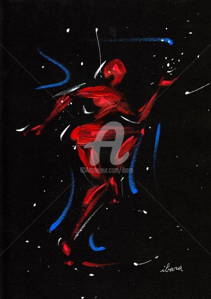 Henri Ibara - homme-rouge-par-ibara-peinture-acrylique-sur-papier-canson-noir-format-24cm-sur-32cm.jpg
