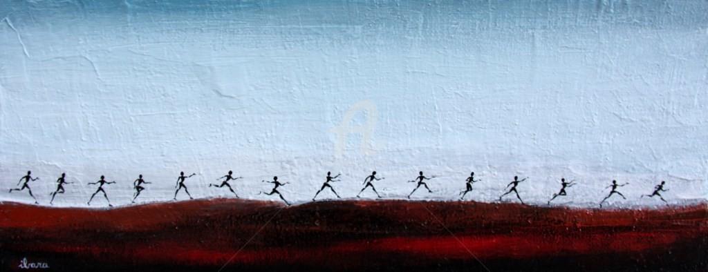 Henri Ibara - les-passants-peinture-d-ibara-acrylique-sur-toile-format-20cm-sur-50cm.jpg